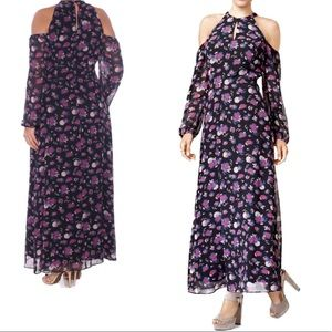 BAR III Boho Cold Shoulder Floral Maxi Dress
